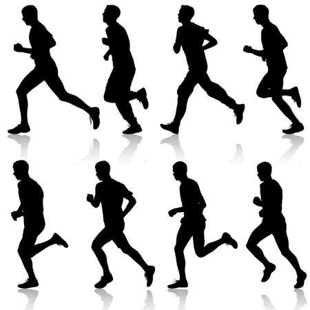 runners: Set of silhouettes. Runners on sprint, men. vector illustration.