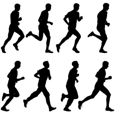 Set of silhouettes. Runners on sprint, men. vector illustration. Фото со стока - 36778243
