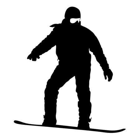 Black silhouette  snowboarder on white background. Vector illustration.