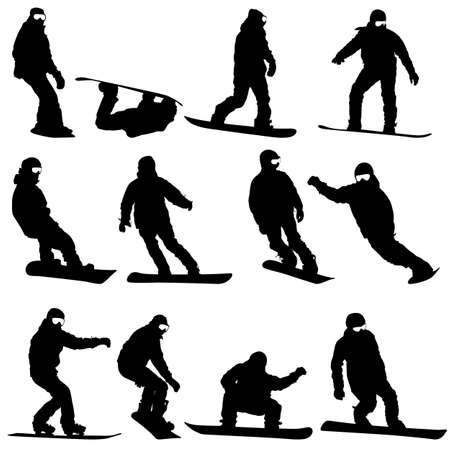 Black silhouettes set snowboarders on white background. Vector illustration. Vector
