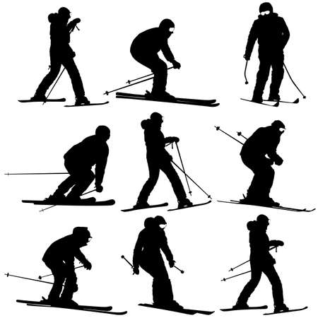 slalom: Mountain skier   men and woman speeding down slope. Vector sport silhouette.