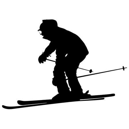 speed gun: Mountain skier  speeding down slope. Vector sport silhouette. Illustration