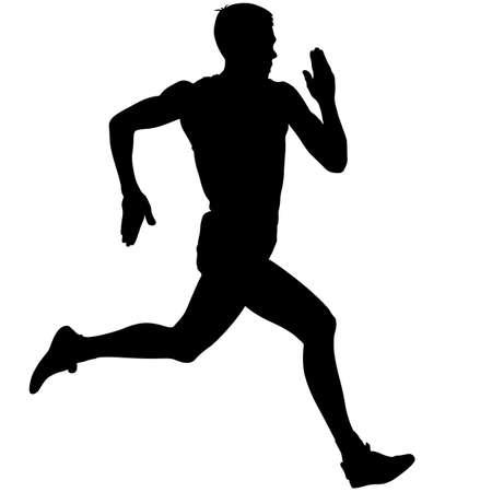 Atleta a correre gara, sagome. Illustrazione vettoriale. Archivio Fotografico - 36778502