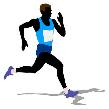 Atleta corriendo raza, siluetas. Ilustración del vector.