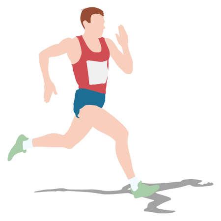 running race: Athlete on running race, silhouettes. Vector illustration.