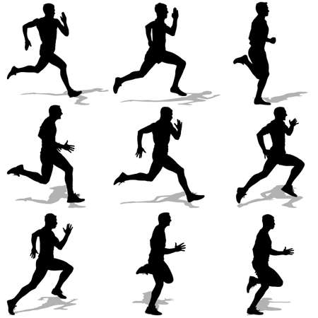 Set of silhouettes. Runners on sprint, men. vector illustration. Vector