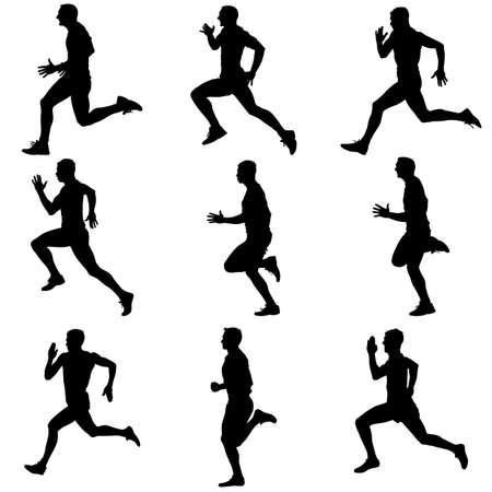 runner: Set of silhouettes. Runners on sprint, men. vector illustration.