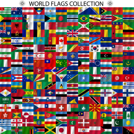 Flags of the world and  map on white background. Vector illustration.
