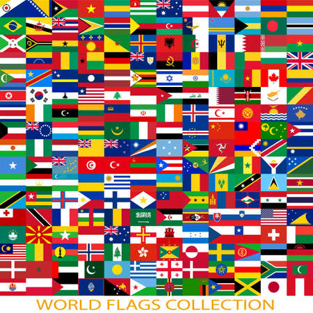 Flags of the world and  map on white background. Vector illustration. Vector