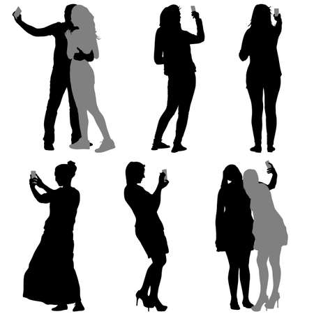 Siluetas hombre y la mujer que toma Autofoto con el teléfono inteligente en el fondo blanco. Ilustración del vector.
