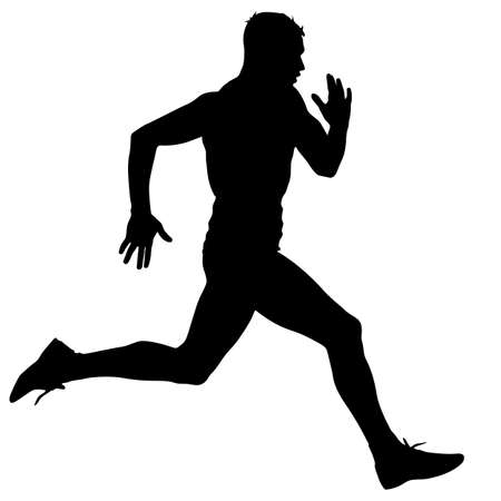 Athlete on running race, silhouettes. Vector illustration.