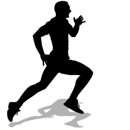 young man: Athlete on running race, silhouettes. Vector illustration.