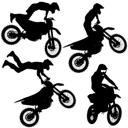 Set silhouettes Motocross rider on a motorcycle. Vector illustrations.