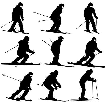 slope: Mountain skier   men and woman speeding down slope. Vector sport silhouette.