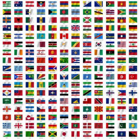 campo: Banderas del mundo y el mapa en el fondo blanco. Ilustración del vector.
