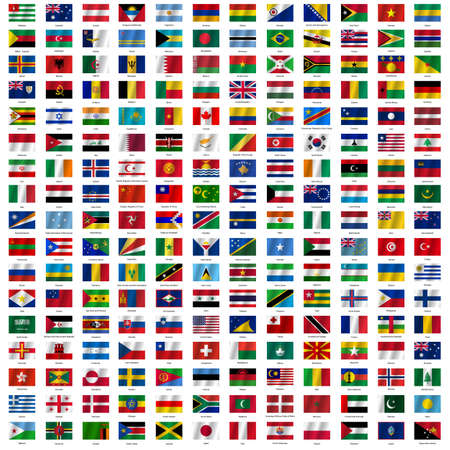 kingdoms: Flags of the world and  map on white background. Vector illustration.