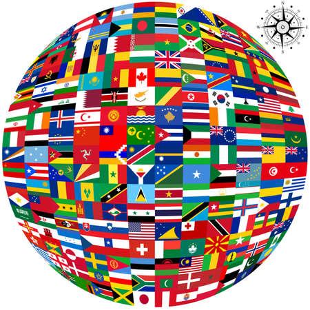 世界および白い背景地図のフラグです。ベクトルの図。