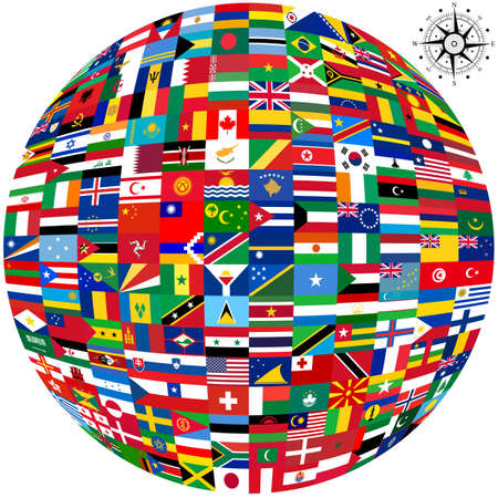 Flags of the world and  map on white background. Vector illustration. Stok Fotoğraf - 37170781