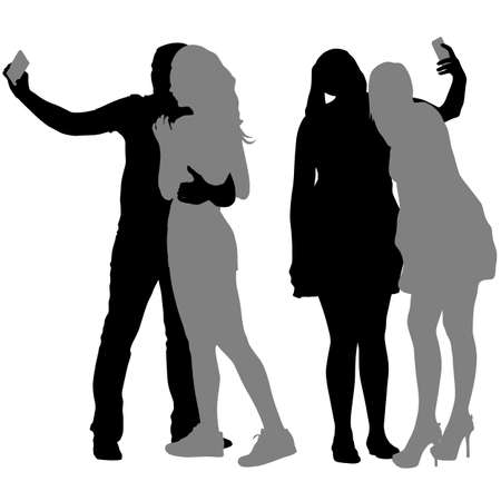 woman smartphone: Silhouettes  man and woman taking selfie with smartphone on white background. Vector illustration.