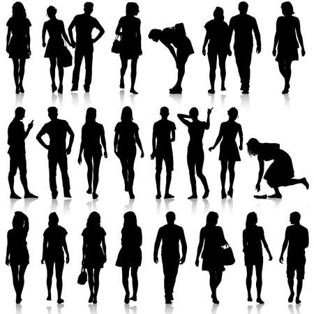 Black silhouettes of beautiful mans and womans on white background. Vector illustration. Vettoriali