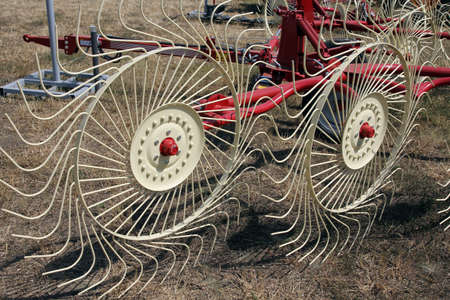 agricultural machinery: New hay raker farm equipment. Agricultural machinery