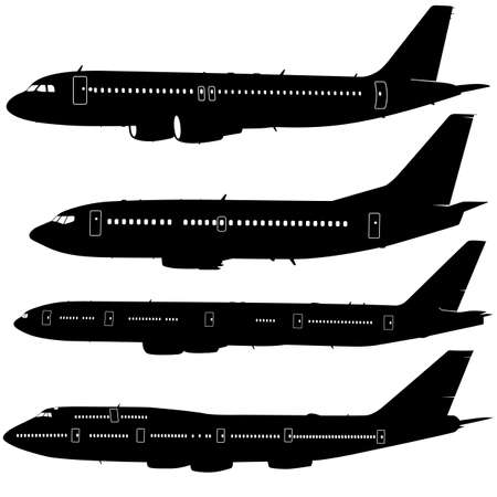 Collection of different  aircraft silhouettes.  vector illustration Stock Illustratie