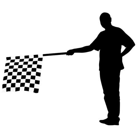 grand prix: Man waving at the finish of the black white, checkered flag. Vector illustration.