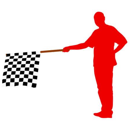 schwarz weiss kariert: Man winken im Ziel der schwarz wei�, Zielflagge. Vektor-Illustration.