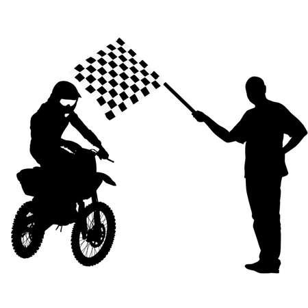 motorcyclist: Man waving  checkered flag before the finish motorcyclist. Vector illustration. Illustration