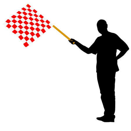 Man waving at the finish of the red white, checkered flag. Vector illustration. Vector