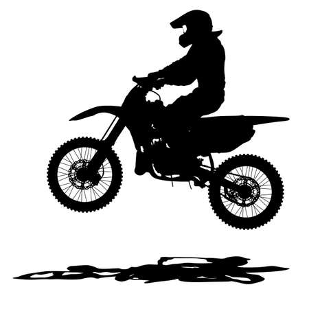 motorcycle rider: Black silhouettes Motocross rider on a motorcycle. Vector illustrations.
