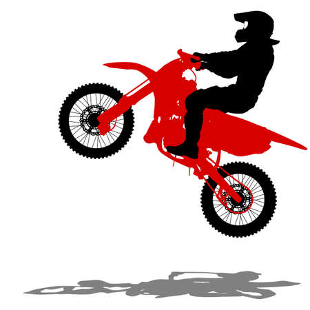 dirt bikes: Black silhouettes Motocross rider on a motorcycle. Vector illustrations.