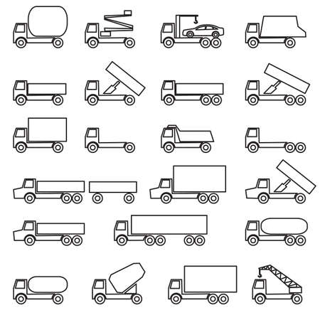 Set of vector icons - transportation symbols. Black on white. Vector illustration. Vector