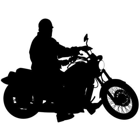 freeride: Siluetas negras Piloto de motocross en una motocicleta. Ilustraciones del vector.