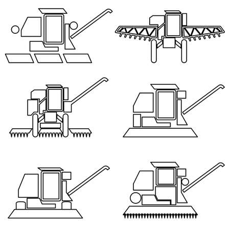 Collection flat icons with long shadow. Agricultural vehicles harvesting combine symbols. Vector illustration.