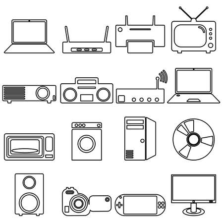 luminaire: Collection flat icons with long shadow. Electrical devices symbols. Vector illustration.