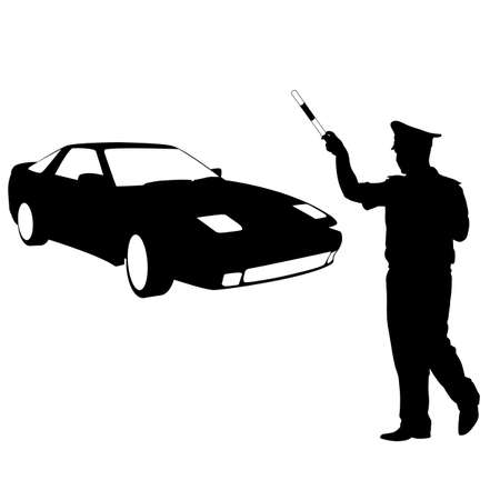 stopped: Silhouette, police stopped a car with a rod. Vector illustration. Illustration