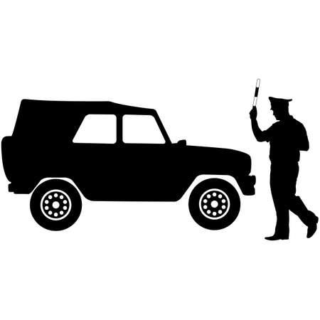 seguridad en el trabajo: Silueta, la polic�a detuvo a un autom�vil con una varilla. Ilustraci�n del vector.