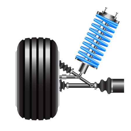 frontal view: car suspension, frontal view. Vector Illustration