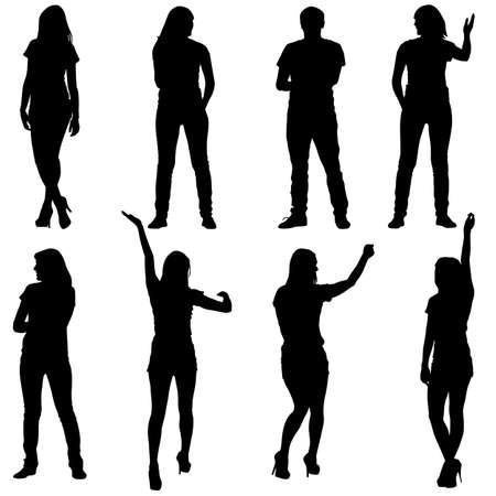 expresion corporal: Siluetas negras de hermosas mans y la mujer en el fondo blanco. Ilustraci�n del vector.