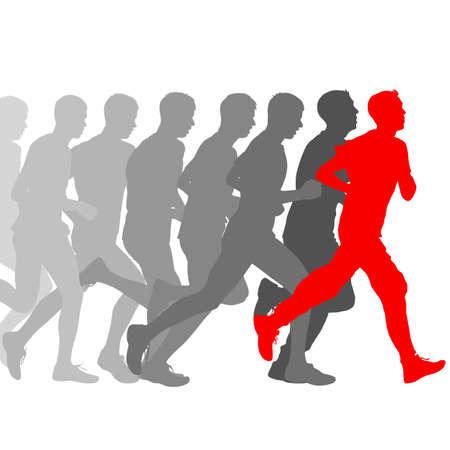 Conjunto de siluetas. Corredores en el sprint, hombres. ilustración vectorial.