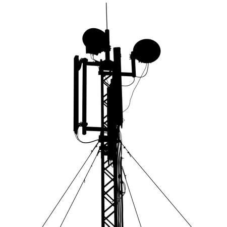 シルエット マスト アンテナ モバイル通信。ベクトル イラスト。