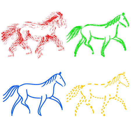 draft horse: set  colors horses outlines. vector collection