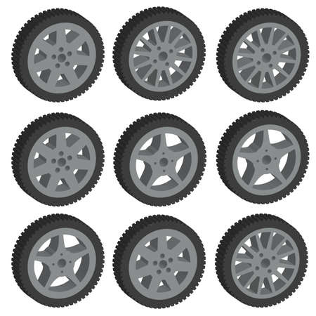 tubeless: automotive wheel with alloy wheels. Vector illustration.