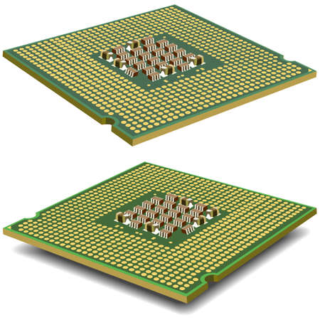 mainboard: Computer  processor microcircuit isolated on a white background. Vector illustration. Illustration