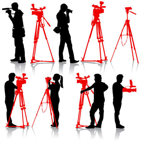 videographer: Cameraman with video camera. Silhouettes on white background. Vector illustration. Illustration