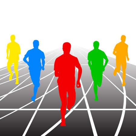 sprint: Set of silhouettes. Runners on sprint, men. vector illustration.
