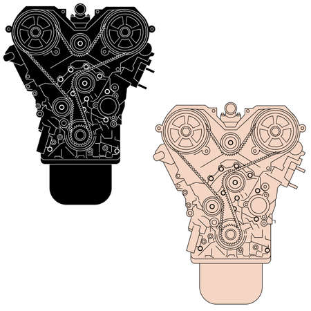 combustion: Internal combustion engine, as seen from in front. Vector illustration. Illustration