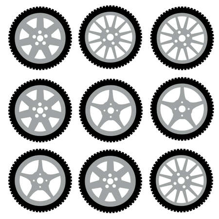 snow tire: automotive wheel with alloy wheels. Vector illustration.