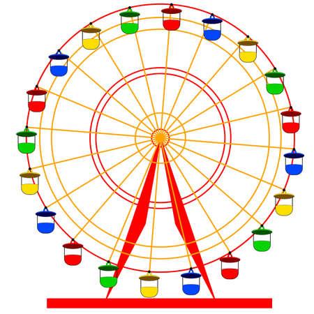 Silhouette atraktsion colorful ferris wheel. Vector  illustration. Stock Illustratie